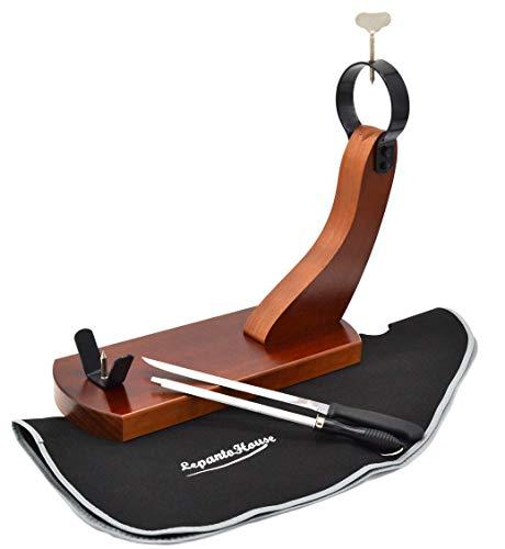FERRETERIA LEPANTO JAMONERO Gondola Modelo HUELVA EN Madera DE Pino Color Nogal + Cuchillo JAMONERO + CHAIRA + Cubre Jamon Negro DE Regalo LepantoHouse