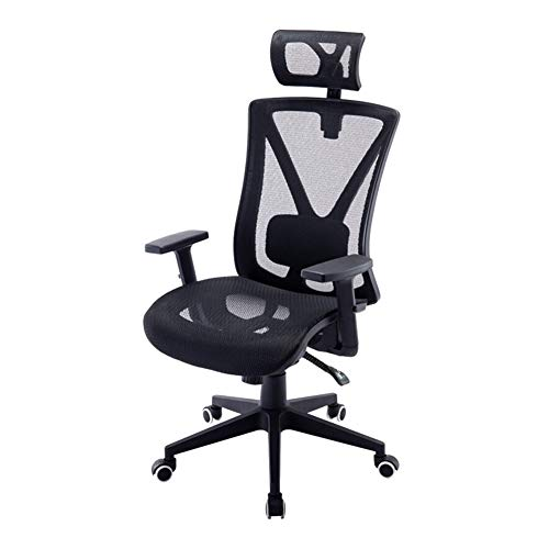 FJP Computerstuhl, ergonomischer Bürostuhl, volle Netzbelüftung, Chefsessel, Liegestuhl, E-Sport-Drehstuhl, höhenverstellbar, Legierung, Schwarz , Größe