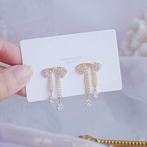 N/A Vergoldete Blattohrringe Exquisite mikro-eingelegte Zirkonohrringe für Hochzeit Bowknotstyle