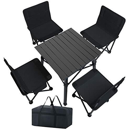 Mesa Plegable, mesas y sillas Camping Mesa Plegable Camping con sillas Dentro...