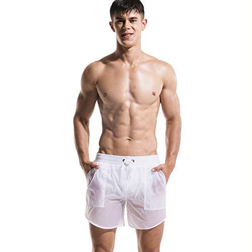 Lantra Besa Herren Badehose Badeshorts Sport Shorts für Sommer Schwimmen Joggen Kurz Schnelltrocknend Einfarbig MEHRWEG (Typ 22) - Weiß, Asiatische Größe XL, Bundweitenumfang 83-90cm