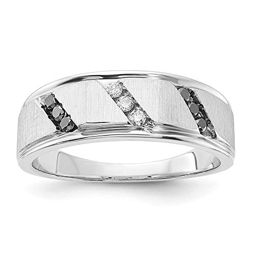 925 Sterling Silver Brushed White Black Diamond Band Ring Size 10.00 Gemstone Man Fine Jewelry For Dad Mens Gifts For Him