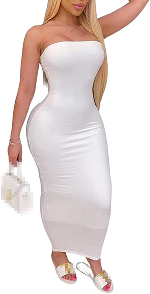 Remelon Women Sexy Off Shoulder Bodycon Maxi Dress - Tube Top Long Tight Dress Cocktail Club Wear