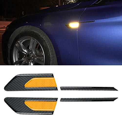 NIHAOA Vídeo del Coche 2 PCS de Fibra de Carbono de Coches-Styling Fender Reflectante Parachoques Decorativo Strip, reflexión Interior + Exterior de Fibra de Carbono (Azul). (Color : Yellow)