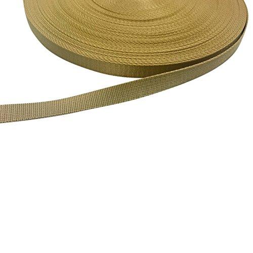 Kacperek Gurtband, Bänder 25mm breit, 10 Meter lang, Dicke 2mm, Polypropylen (Gold)