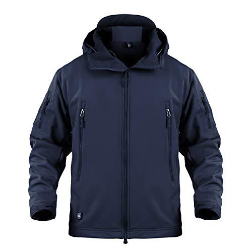 Memoryee Chaquetas de Softshell para Exteriores Impermeables para Hombres Abrigos tácticos Militares cálidos Camuflaje Abrigo/Azul Marino/XL