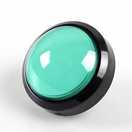 EG STARTS 4 Inches Arcade Buttons 100mm Larger Big Dome Convex Type LED Lit Illuminated Push Button for Compatible Arcade Machine DIY Kit & Raspberry Pi Game Part ( Green )