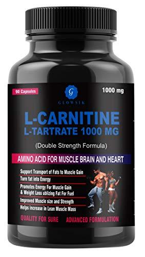 GLOWSIK L-Carnitine L- Tartrate 1000 mg weight loss fat burner supplements 90 capsules