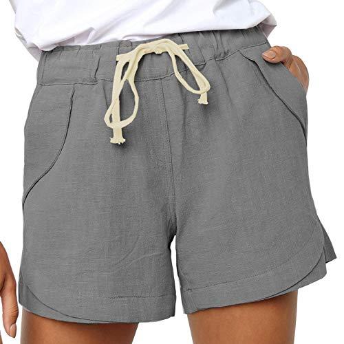 LowProfile Cotton Linen Loose Shorts for Women Summer, Plus Size Comfortable Lounge Pants Casual Workout Short, S-5XL Dark Gray