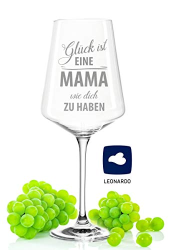 GRAVURZEILE Leonardo Puccini Weinglas mit Gravur - Geschenke für Mama - Glück ist eine Mama wie Dich zu haben - Geburtstagsgeschenke für Mama