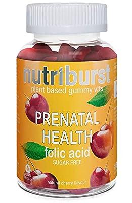 NUTRIBURST   Chewable Folic Acid for Pregnancy   Sugar Free Prenatal Gummies for Conception   Healthy Vitamins for Women   60 Gummies 1 Month Supply   Plant Based, Suitable for Vegetarians & Vegans