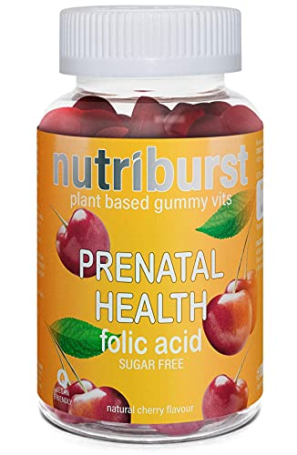 NUTRIBURST | Folic Acid, Prenatal Health Gummy Vitamins | Plant Based, Sugar Free Supplement | 60 Gummies 1 Month Supply | Healthy Nutrition Suitable for Vegetarians and Vegans