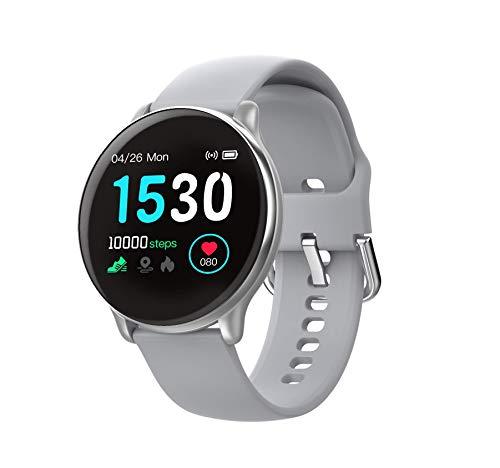 SmartWatch com Monitor Cardíaco, Monitor de Sono e Pressão Sanguínea para iOS e Android,cinza/Tiras de silicone