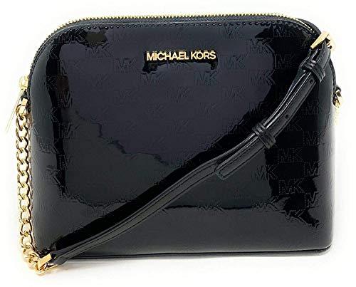 Michael Kors Cindy Dome PVC Leather Crossbody Bag Mirror Metallic Black