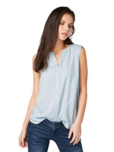 TOM TAILOR DENIM Blusen, Shirts & Hemden Ärmellose Bluse Foggy Blue, M