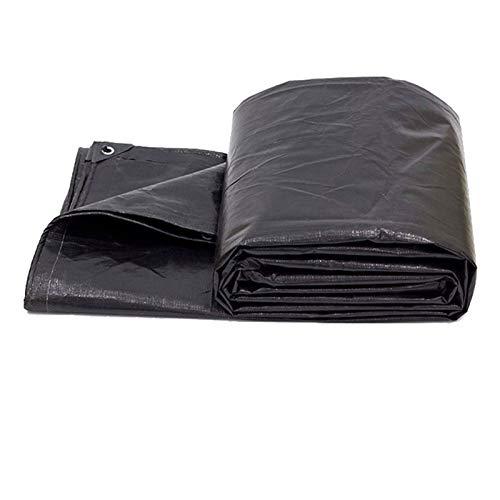 NaDrn Heavy Duty Black Poly Tarp - Multi-Purpose UV-Resistant Black High - 13 Mil 200g/㎡ Density Polyethylene Weave Tarpaulin - 100% Waterproof Black Tarps Cover Canopy Tarp Black,8x10m/26x33ft
