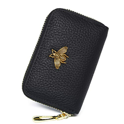 imeetu RFID Credit Card Holder, Small Leather Zipper Card Case Wallet for Women(Black)