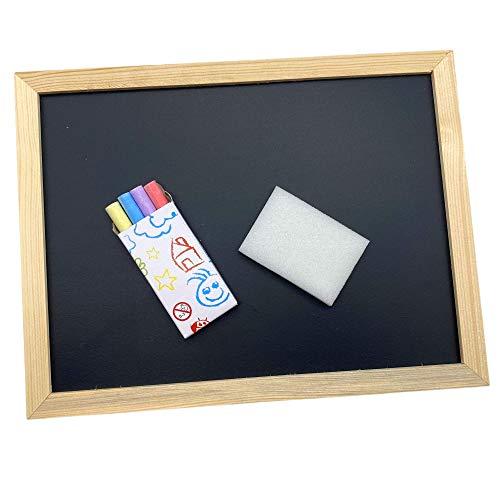Mini Kreidetafel Memoboard mit 4 farbigen Kreidestücken und Schwamm, mit Holzrahmen, Schwarz 23 x 30 cm