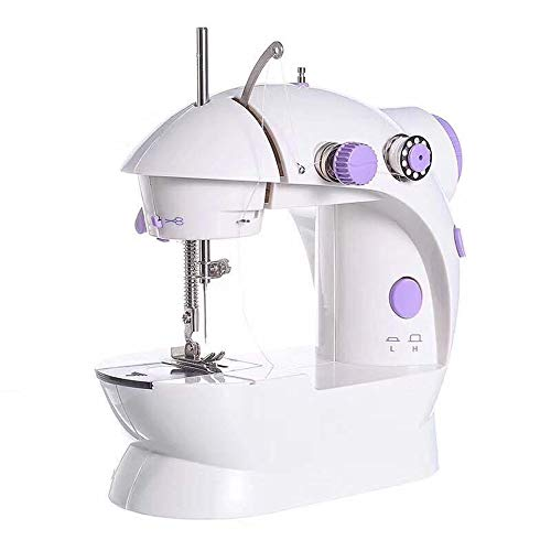 Mini máquina de coser Máquina de coser portátil Mini ajustable 2 velocidad eléctrica doble rosca Máquina de coser Handheld bordado for principiantes niños de costura recta con el pie del pedal