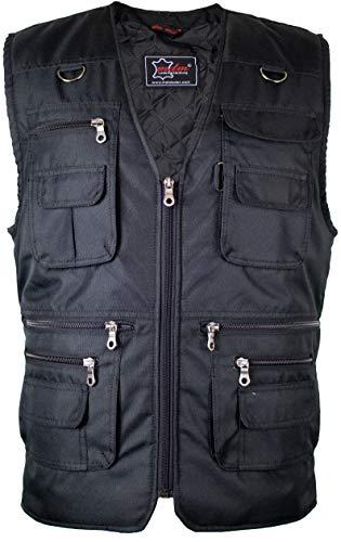 MDM Herren Outdoor Weste mit Vielen Taschen (Schwarz,4XL)