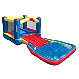 Banzai 35533 Bounce N Splash Water Park Aquatic Activity Play Center with Slide, Grounding Stakes, Pump Included, and Portable Travel Storage Bag