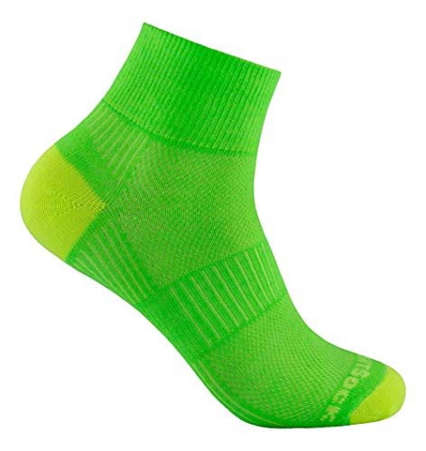 Wrightsock - Profi Sportsocke, Laufsocke Modell Coolmesh II in grün gelb, Anti-Blasen-System, doppel-lagig, Quarter mittellang, Gr. S