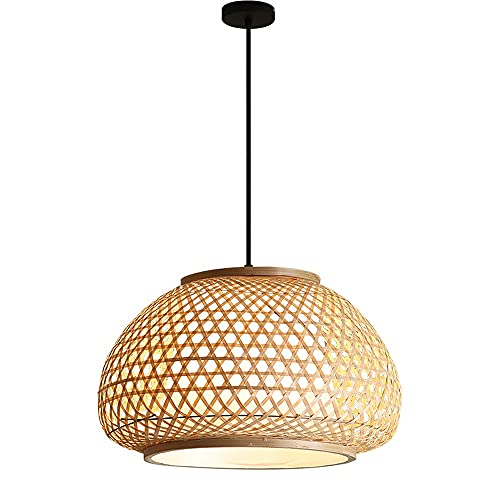 MUMUMI Chinese Style Circular Hollow Bamboo Chandelier Simulation Sheepskin Lampshade Adjustable Hanging Wire Rattan Pendant Light, Quick Installation (Size : L)