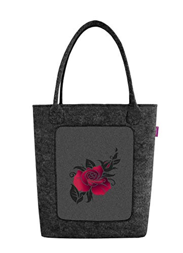 Bertoni Swing - Borsa da donna in feltro con chiusura lampo e tasca interna in feltro elegante e casual con motivo di rose, misura media