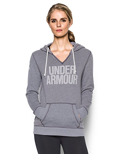 Under Armour Women's Favorite Fleece Word Mark Popover, Carbon Heather/White, X-Small