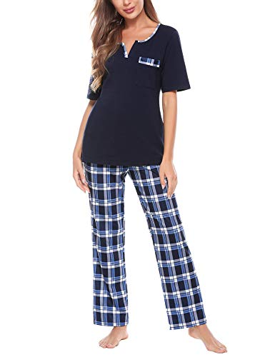 Doaraha Pijama a Cuadros para Mujer Camiseta y Pantalones Pijamas Cortos Estampado de Celosía Manga Corta Ropa de Dormir de Algodón Suave Pijamas Largos (A#1 Azul Oscuro + Azul (pantalón Largo), S)