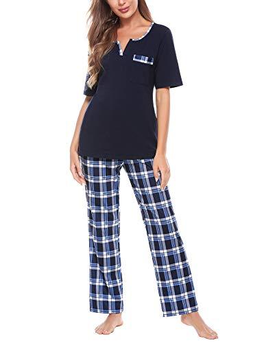 Doaraha Pijama a Cuadros para Mujer Camiseta y Pantalones Pijamas Cortos/Largos con Estampado de Celosía Manga Larga/Corta Ropa de Dormir de Algodón Suave (A#1 Azul Oscuro+Azul (pantalón Largo), XXL)