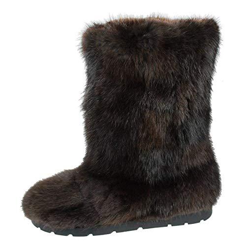 Black/Brown Muskrat Fur Boots for Women
