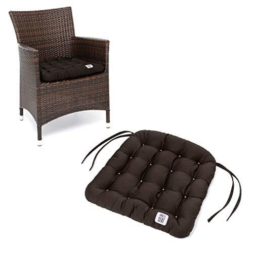 HAVE A SEAT Luxury - Sitzkissen Outdoor, 4er Set Sitzpolster Gartenstuhl (Braun), Sitzauflage Rattan-Stuhl, bequem, robust, pflegeleicht, waschbar bei 95°C, Trockner geeignet.