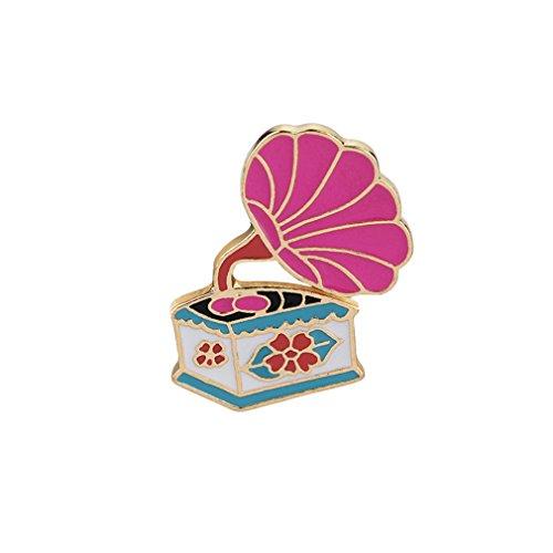 L_shop Cartoon Phonograph Grammophon Brosche Pin Pink Emaille Icon Rucksack Jeansjacke Kragen Revers Pin Metall Abzeichen Schmuck Geschenk