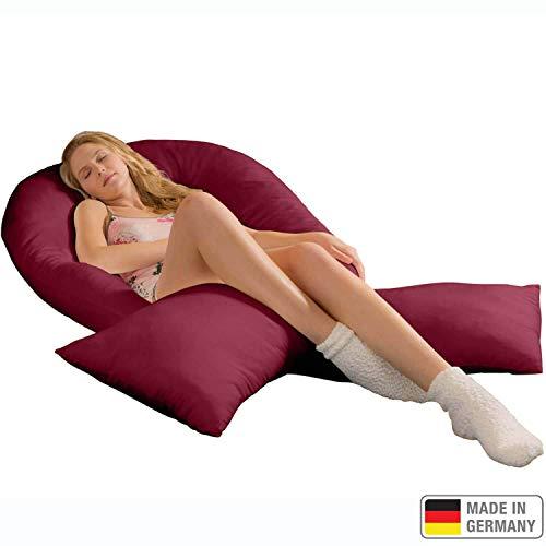 Traumreiter Jumbo XXL Seitenschläferkissen mit Bezug Bordeaux-rot I Schwangerschaftskissen U Form Full Body Pillow Seitenschläfer Kissen für Schwangere Lagerungskissen