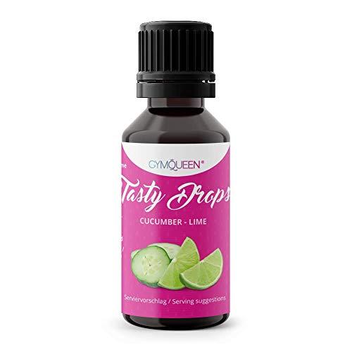 GymQueen Tasty Drops 30ml | Kalorienfreie, Zuckerfreie und Fettfreie Flavour Drops | Aroma Tropfen zum Süßen von Lebensmitteln | Geschmackstropfen ohne Künstliche Farbstoffe I Gurke-Limette