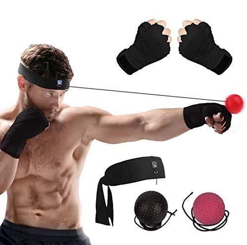 DYBOHF Bola Boxeo Reflejo, 2 Reflex Ball + Vendas de Boxeo (Training...