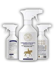 C&G Pets | Spray de acabado desenredante de caballo Super Shine | Acondicionador de capa repelente al polvo ingredientes naturales | Protege la cola de melena brillo natural rápido desenredante de pelo Nutrición de la piel