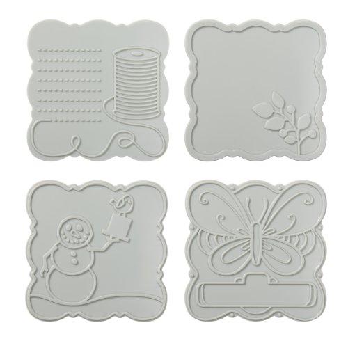 Fiskars 100960-1001 Curvy Square Design Plate Expansion Pack, Medium, 4-Pack