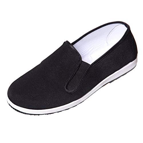 DoGeek Kung Fu Taichi Schuhe Chinesische Traditionelle Peking-Stil Schuhe Slipper für Damen und Herren Schwarz (Wählen Sie 1 Größere Größe)