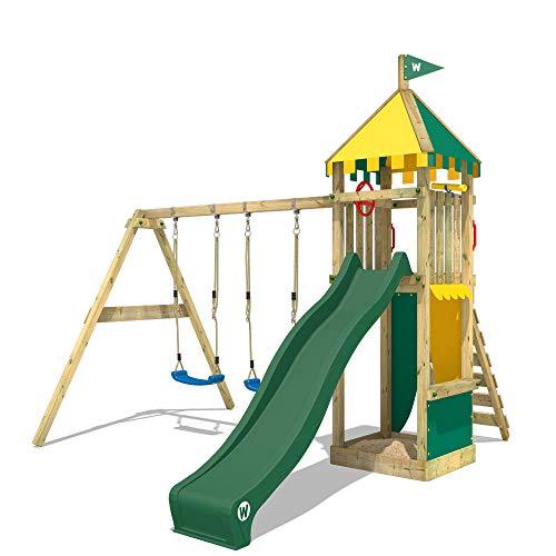 WICKEY Parque infantil de madera Smart Brave con columpio y tobogán verde, Torre de escalada de...