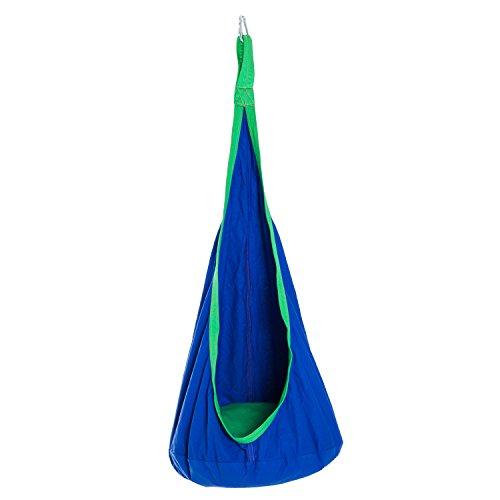 HOMCOM Pod Swing Chair Hanging Hammock Seat Kids Nook Tent for Indoor Outdoor Space - Blue
