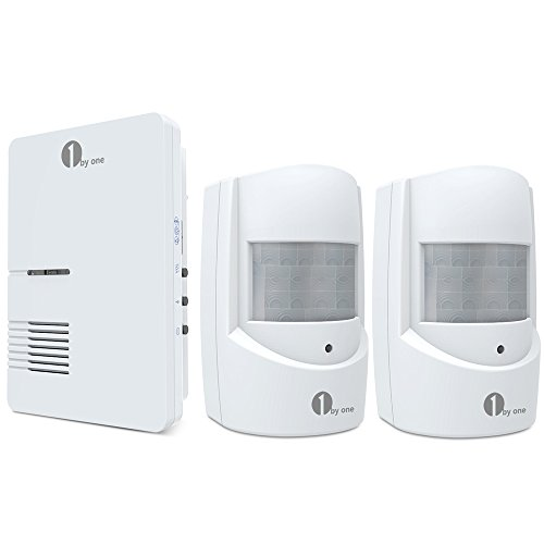 1byone Wireless Driveway Alert, Infrared Motion Sensor with 1 Plug-in Receiver and 2 Sensors