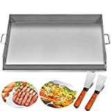Happybuy Universal Flat Top Griddle 32x17 inches Stainless Steel Flat Top Griddle Plancha