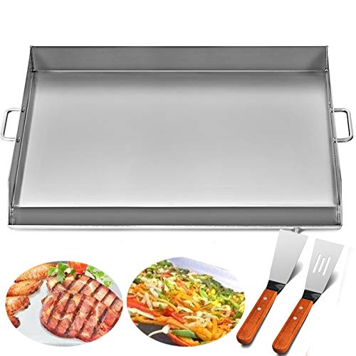 Happybuy Universal Flat Top Griddle 32x17 inches Stainless Steel Flat Top Griddle Plancha Comal BBQ Griddle with Handles for Restaurant or Home Use Griddles