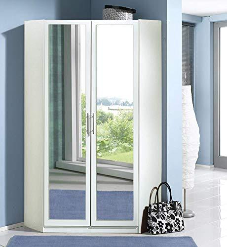 lifestyle4living Eckschrank in weiß mit viel Stauraum, Kleiderschrank mit 2 Türen und Spiegel, Stauraumschrank B/H/T ca. 95/198/95 cm