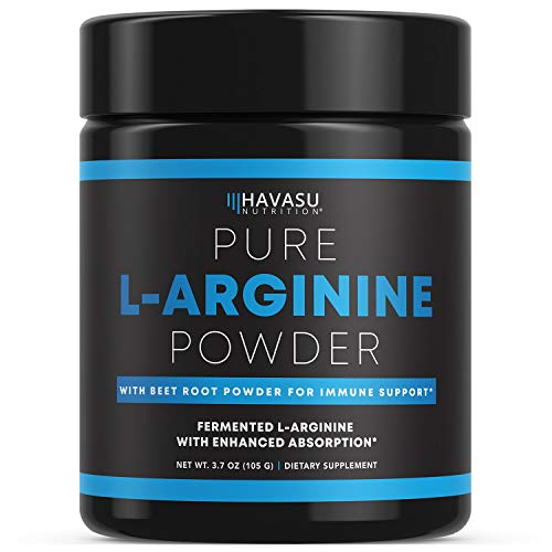 arginine powders Havasu Nutrition Extra Strength L-Arginine Pre Workout Powder; 1200 mg Nitric Oxide Supplement for Muscle Growth and Energy; 30 Servings (3.7 G)