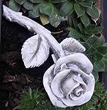 Rose mit Stiel Rosenblüte auch Grabdekoration Grabschmuck wetterfest 13,5 cm grau