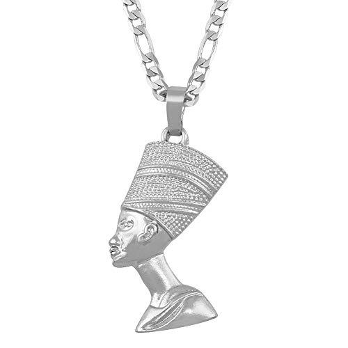 Minekkyes La Reina egipcia Nefertiti Colgante Collares Mujeres Hombres joyera Plata Color/Oro Color joyera Africana