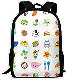 Mochila escolar,Laptop Laptop Bag Carry Everyday Bookbag Mochilas de viaje para adultos Alimentos lindos Caras de comida divertidas Png Comida con caras Mochila informal duradera unisex para la escuel